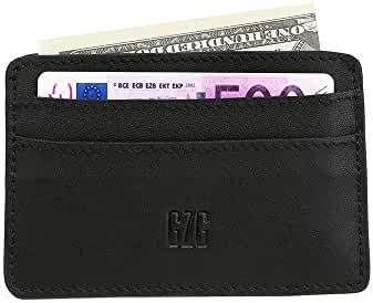 GZG RFID Front Pocket Wallet Card Cases Minimalist Wallets and Card Holders Slim Wallet Genuine Leather