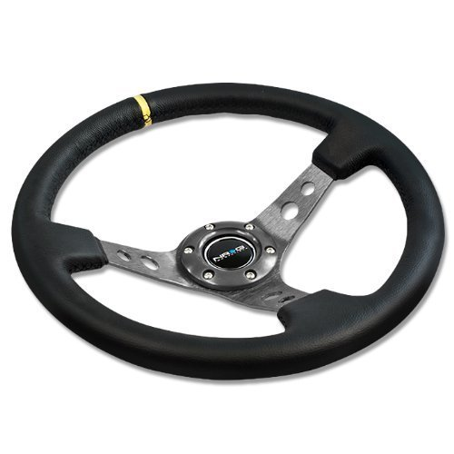 NRG Innovations, ST-006GM-Y, 350mm 3 Inches Deep Dish 6 Hole Racing Steering Wheel Black Leather Gun Metal Center with Horn Button ST-006GM-Y