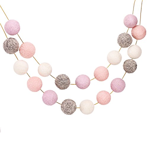 Wool Felt Balls Garland (purple+pink+white+grey)