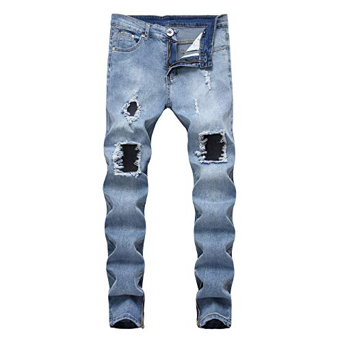 OBT Boys Distressed Destroyed Ripped Holes Stretch Runway Slim Fit Blue Skinny Jeans