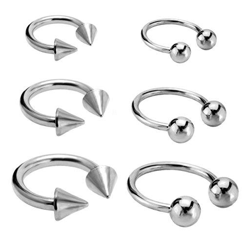 Joybeauti 6mm 10mm 14mm Unisex Stainless Steel Ball Spike Horseshoe Hoop Ear Cartilage Helix Septum Circular Barbells Earrings 16G Pack of 12 Pcs (Steel) (Barbell Spike Circular)