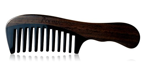 Olina 100% Handmade Premium Quality Natural Wood Comb with Natural Wood Aromatic Smell (Wide-tooth, Black Ox Horn & Chacate Preto Wood, 7.3'')