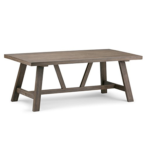 Simpli Home 3AXCDLN-01 Dylan Solid Wood 48 inch Wide Rectangle Modern Industrial Coffee Table in Driftwood
