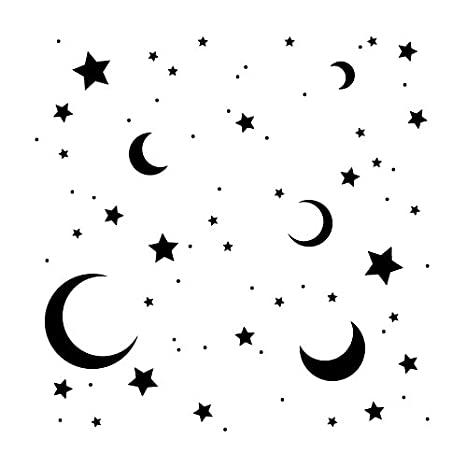 Moon & Stars Stencil by StudioR12   Dreamy Night Sky Pattern Art - Reusable Mylar Template   Painting, Chalk, Mixed Media   Use for Journaling, DIY Home Decor - STCL706 SELECT SIZE (9 x 9) Studio R 12