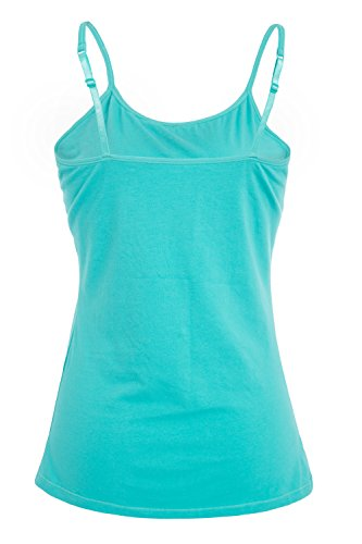 V FOR CITY Womens Active Basic Cami Cotton Tanks Top Camisole Base Layer Lingerie Aqua Black M by V FOR CITY (Image #2)