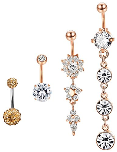 (Jstyle 4 Pcs Dangle Belly Button Rings Navel for Women Curved Barbell Piercing 14G CZ Piercing Set)