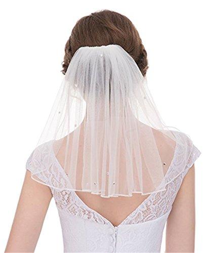 Sunny zeyu Cute Simple 1 Layer Shoulder Length Crystals Short Wedding Veil Bridal Veils V2 (Wedding Shorts)