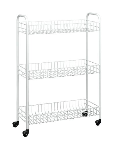 - Metaltex USA Inc. Slim Rolling cart, 3 Tier, White