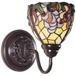 Dale Tiffany TW100851 Jacqueline Fancy Wall Sconce Light, Bronze and Art Glass Shade