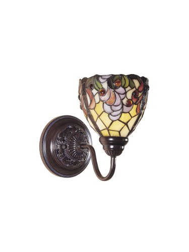 Fine Art Lamps Metal Sconce - Dale Tiffany TW100851 Jacqueline Fancy Wall Sconce Light, Bronze and Art Glass Shade