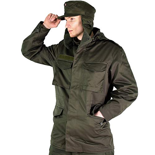 Original Austrian Army Combat M65 Jacket OD Military Olive drab Parka Field Coat Genuine Military Issue (Large Regular)
