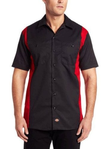 Dickies Occupational Workwear LS524BKER 2XL Polyester/Cotton Mens Short Sleeve Industrial Color Block Shirt, 2X-Large, Black/English Red