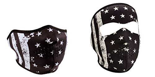 Bundle (2 Items): 1 Zan Headgear 'Black & White Vintage U.S. Flag Face Mask' Half Face Neoprene Face Mask -AND- 1 Zan, Child / Kid Sized, 'American Flag' Full Face Neoprene Face Masks, Ski Mask