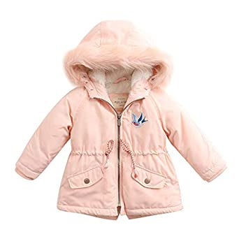 marc janie Little Girls Winter Hooded Long Jacket with Removable Fur Collar