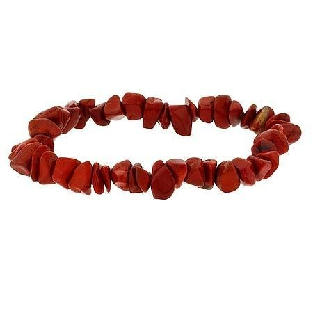 Sterling Silver .925 Genuine Red Jasper Stone Chip Stretch Bracelet