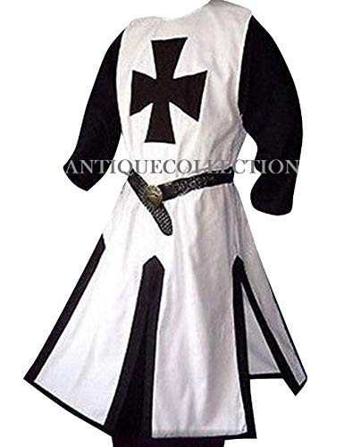 Medieval Crusader Templar Knight Warrior Tunic Robe Halloween Costume (White)
