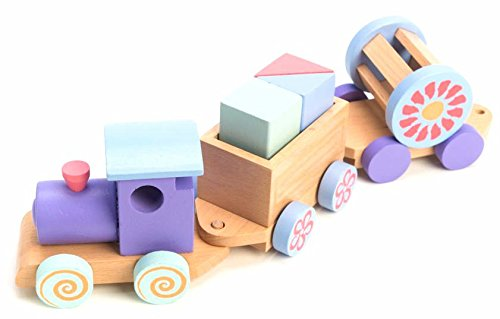 One Earth Toys Wooden Train With Stacking Blocks Moving Import