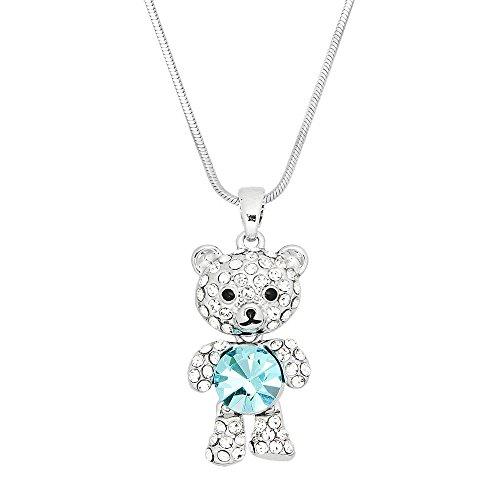 Polished Bear Pendant (Teddy Bear Pendant Necklace Rhinestone Crystal High Polished Rhodium J0495-AQ)