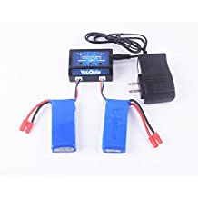 YouCute 2pcs 7.4v 2000mah Offical Battery and 1to2 Charger for Syma X8c X8w X8G Rc Quadcopter Drone Spare Parts