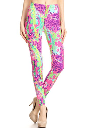 Neon Splash Pattern High Waist Leggings for Women