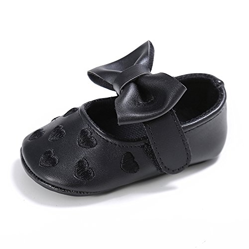 L'enfant Baby Girls Mary Jane Shoes Bowknot Crib Shoes Sneakers Black US 4