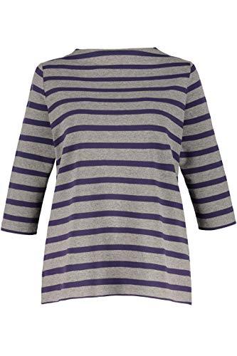 Ulla Popken Women's Plus Size Stripe High Neck Stretch Knit Top Grey/BlackBerry Stripe 20/22 713557 13 ()