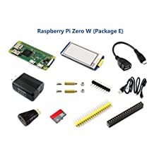 Raspberry Pi Zero W Built-in WiFi Development Kit Type E Micro SD Card Power Adapter with 2.13inch e-Paper Hat Display and Basic Components