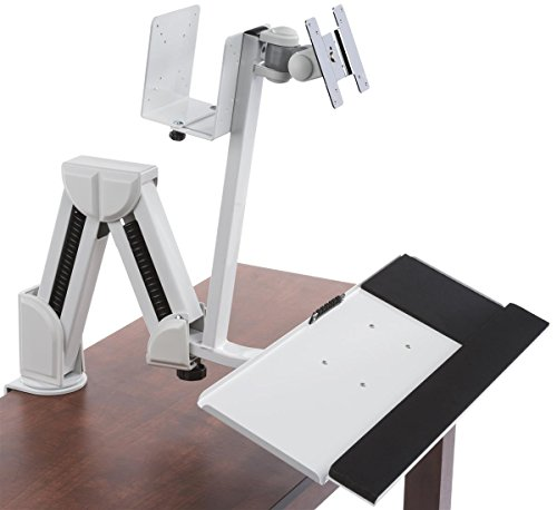 Displays2go Articulating Monitor & Tablet Work Station, Mounts on Counter or Wall, Steel & Aluminum Construction - White (DWSSW02WT)