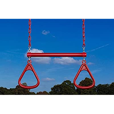 CREATIVE CEDAR DESIGNS Ultimate Triangle Rings & Trapeze Bar, One Size, Red (BP 005): Sports & Outdoors