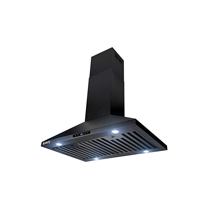 """AKDY 30"""" Island Mount Black Painted Finish Stainless Steel Touch Panel Kitchen Range Hood Cooking Fan"""
