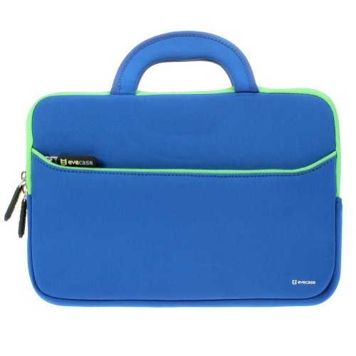 116---122-inch-Laptop-Tablet-Sleeve-Evecase-Ultra-Portable-Neoprene-Zipper-Carrying-Pouch-Case-Bag-with-Accessory-Pocket-and-Handle-For-Macbook-iPad-Notebook-Chromebook-Ultrabook---BlueGreen