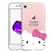 iPhone 6S Plus / iPhone 6 Plus Case Hello Kitty Face Cute Bow Ribbon Clear Jelly Cover