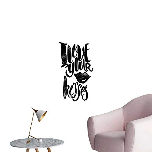 Romantic 3D Murals Stickers Wall Decals I Love Your Kisses Grungy Looking Valentines Phrase with Woman Lipstick Mark Creative Self-Adhesive Black White W20 x H28