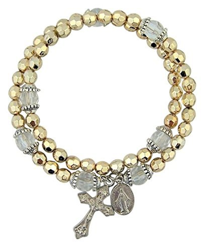 (Acrylic Gold Tone Prayer Bead Rosary Wrap Bracelet with Miraculous Medal, 8 Inch)
