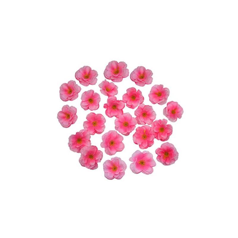 silk flower arrangements hokpa artificial silk cherry blossom flower heads, fake fabric sakura floral head decor for bridal hair clips headbands dress diy accessories wedding party supply table decorative (100pcs pink)