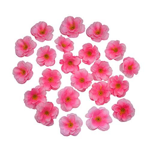 HZOnline Artificial Silk Cherry Blossom Flower Heads, Fake Fabric Sakura Floral Head decor for Bridal Hair Clips Headbands Dress DIY Accessories Wedding Party Supply Table Decorative (100pcs Pink) -