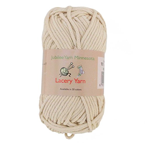 Crocheted Aran Sweaters - BambooMN Brand - Lacery Yarn 100g - 4 Skeins - 100% Cotton - Vanilla Cream - Color 101