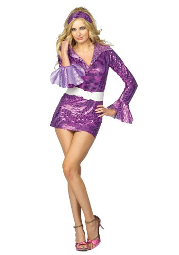 [RG Costumes Women's Violet Fever Dress, Purple, Large/8-10] (Halloween Costumes Violet)