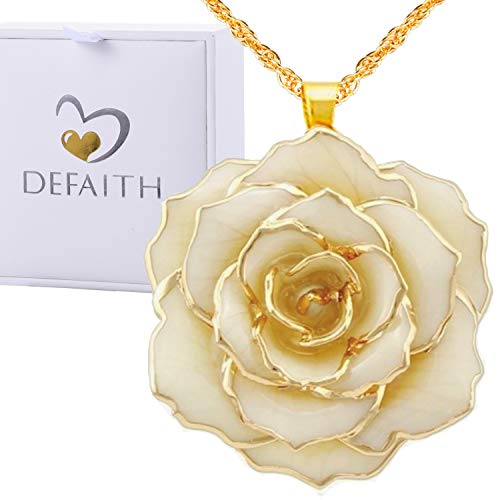 DEFAITH Real Rose Pendant Necklace 24K Gold Dipped, Best Gifts for her Wife Girlfriend Mother Women for Anniversary Valentines Day Birthday Ivory, Classic Rose