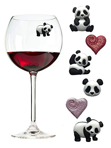 Panda Wine Charms Magnetic Markers/Identifiers Perfect for Stemless Glasses Fun Valentines Day Gift - Set of 6 by Simply Charmed