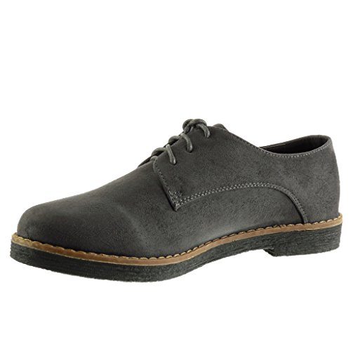 Derbies surpiqûres 2 Chaussure Angkorly finition CM 5 coutures Mode femme Gris bloc Talon qXFHA