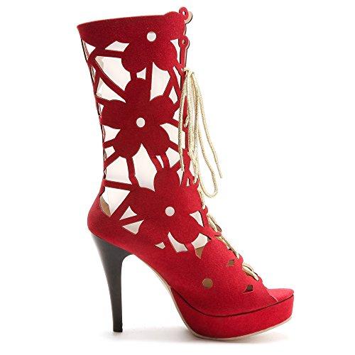 Sandales JOJONUNU Femmes Lacets Bottillons 53 Red wnAHFfqxRH