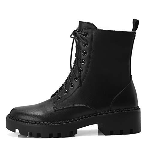 Y Yan Con Martin De Cremallera Mujer Negro Tacones Marrón Medios Botas Cálidos Botines Medio Cordones Tacón Otoñales Zapatos qCUqY