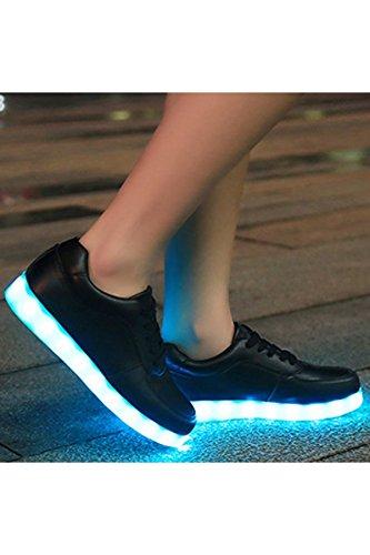 Azbro Mujer Zapatillas Deportivas Planos con Luz LED Recargable Cordón-Arriba Negro