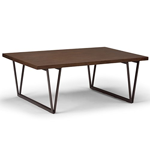 Simpli Home AXCRDY-01 Ryder Solid Wood and Metal 50 inch Wide Rectangle Industrial Coffee Table in Natural Aged Brown (Tops Table Reclaimed)