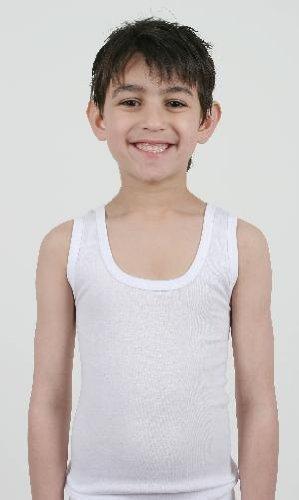 3er Pack Kinder/Jungen Thermo-Unterwäsche - ärmellose Weste - Weiß