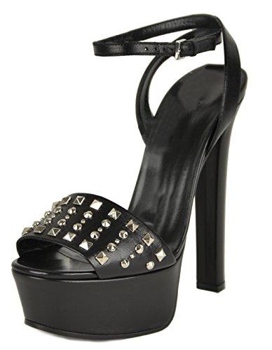 Gucci Platform Shoes (Gucci Womens Leila Shoes Studded Platform Black Leather Sandals (IT 39 / US 9))