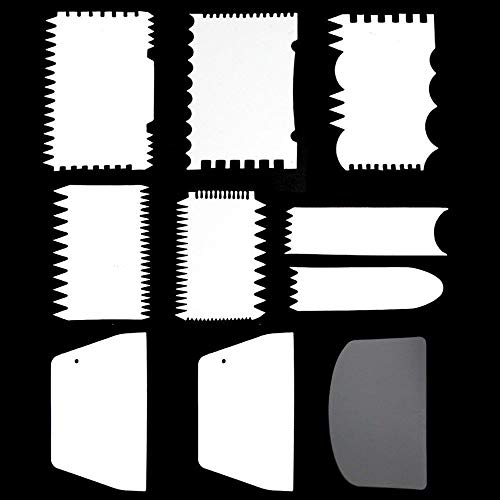 Tomnk 10Peice Cake Scraper Cake Edge Decorating Tool Scrappers Cutters Smoother Tool Set