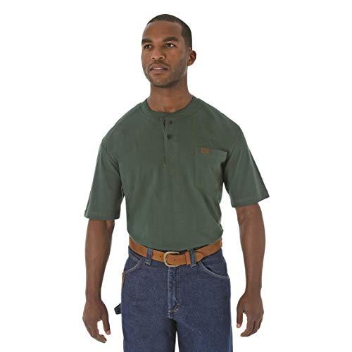 (Wrangler Riggs Workwear Men's Short Sleeve Henley, Forest Green, XL Tall)