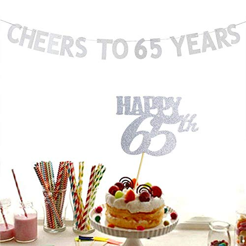 Cheers to 65 Years Banner and Happy 65th Cake Topper Silver Glitter for 65th Birthday Wedding Anniversary Party Decorations Supplies ()